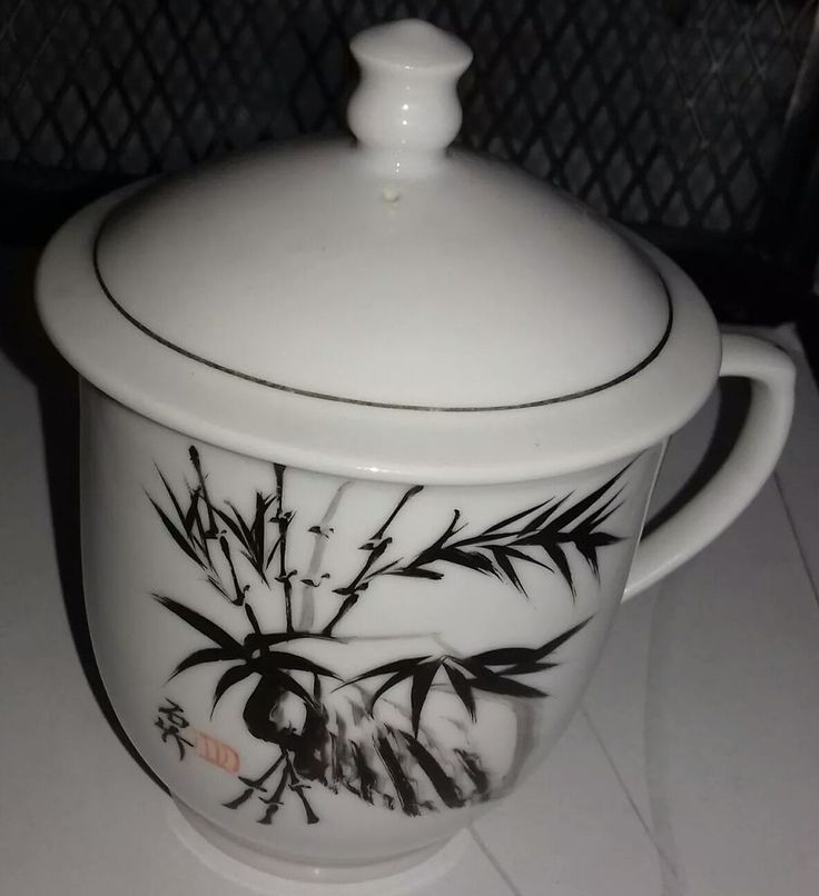 Chinese Tea Cup with Lid Hand Painted Stone and Bamboo