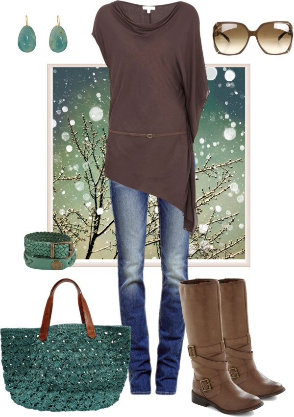 """Helmut Lang Belted Tunic."" by pamnken on Polyvore: Ideas, Fashion, Purse, Style, Clothes, Fall Outfits, Teal, Tunics"