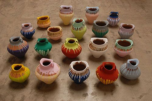 """Ai Weiwei, """"Colored Vases"""" (21 Neolithic vases and industrial paint), at Mori Art Museum."""