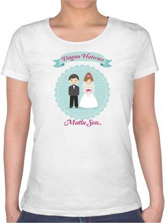 Düğün Hatırası- Evli çiftlere özel Kendin Tasarla - Bayan U Yaka Tişört