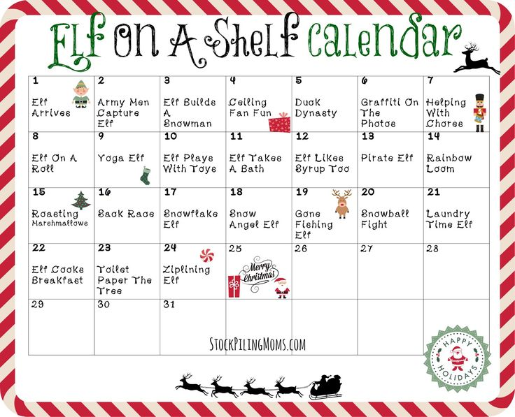 Elf on the Shelf Calendar of Activities!