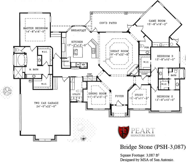 Bridge Stone 1 Story Home Floor Plan Custom Home