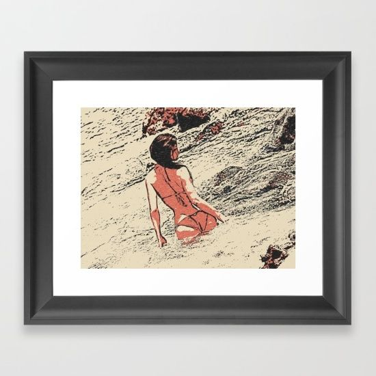 The Waves - sexy girl at beach Framed Art Print