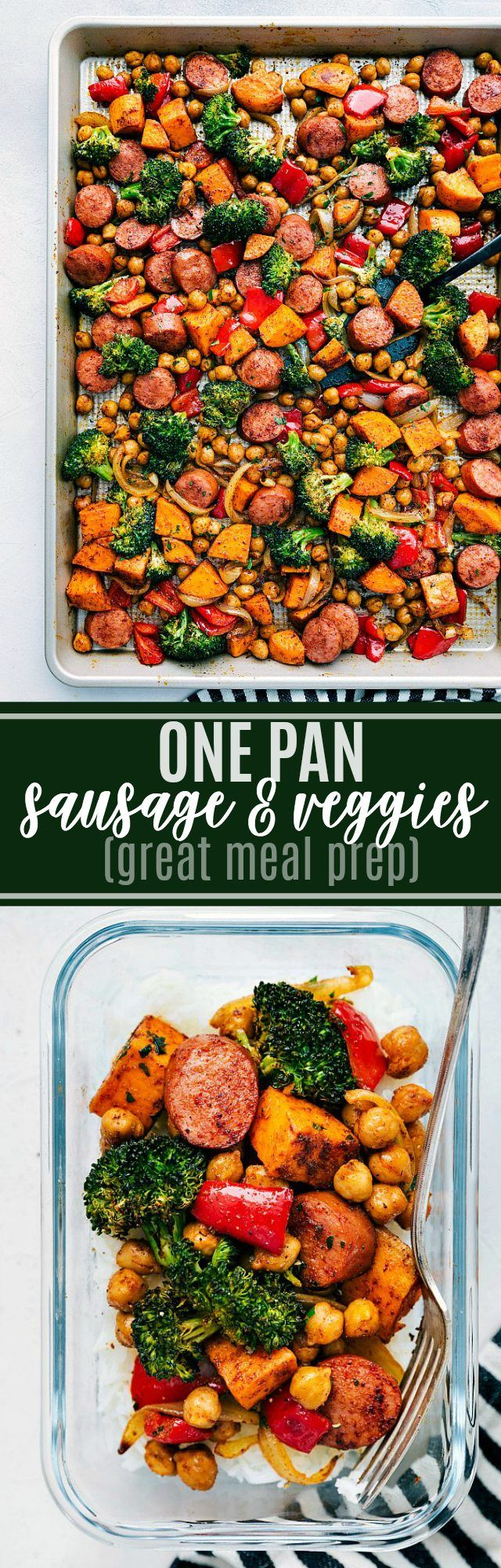 ONE PAN HEALTHY SAUSAGE AND VEGGIES | chelseasmessyapron.com | #sausage #veggies #onepan #easy #quick #fast #cleanup #minimal #chickpeas #sausage #broccoli #red pepper #onion #family #friendly #kid #meal #prep #healthy #simple #whole30