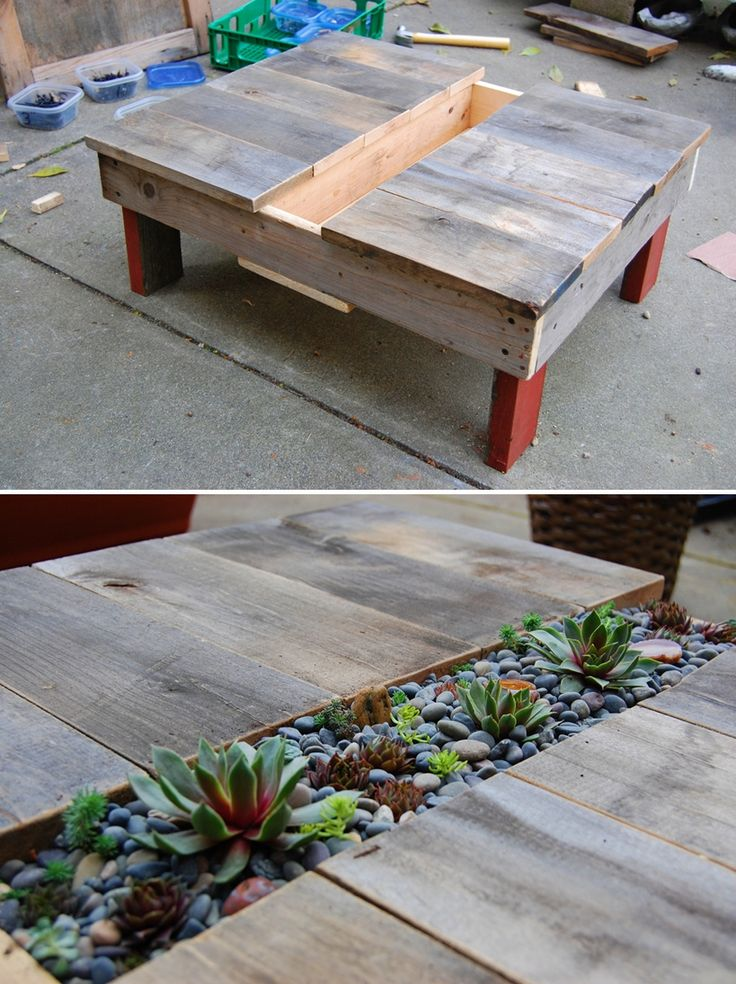 deck coffee table,  What if this was covered with the chalk board paint?   And th middle held all different types of chalk.