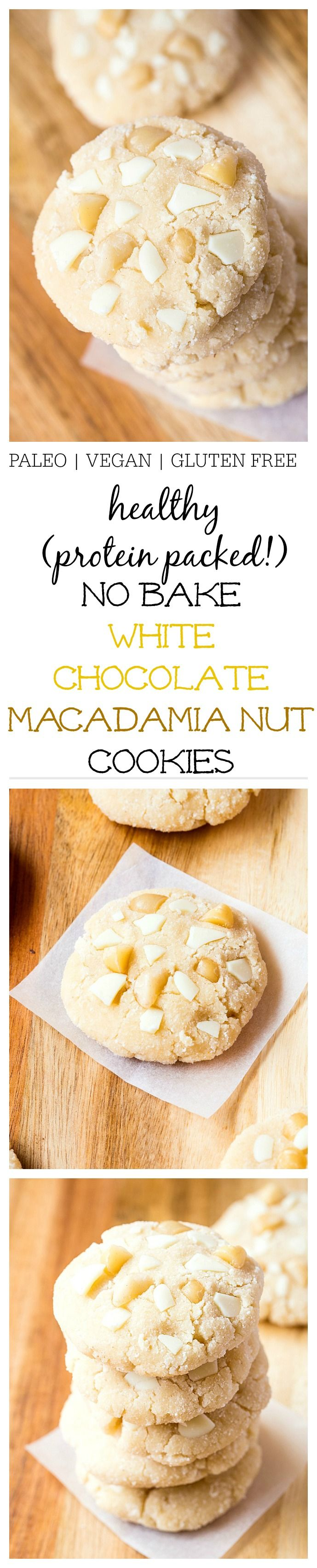 Healthy No Bake White Chocolate Macadamia Nut Cookies- Inspired by Subway's infamous cookies, 1 bowl + 10 minutes- Vegan, GF + Paleo option! @Thebigmansworld - thebigmansworld.com