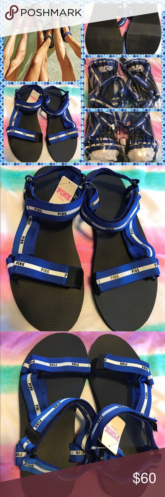 BNWT Pink Victoria'sSecret Promo Velcro Sandals BNWT Pink Victoria'sSecret Velcro Sandals.  Blue straps 2/ PINK in white letters, adjustable straps at ankles and across toes.  Size medium-7/8. No trades.  Will price drop PINK Victoria's Secret Shoes Sandals