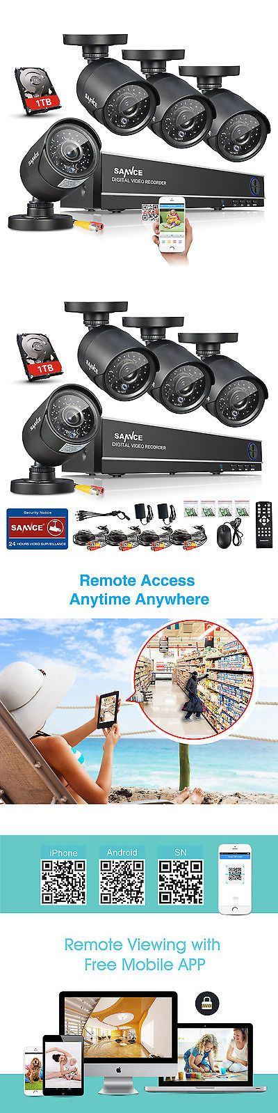 Security Cameras: Sannce 8Ch 1080P Dvr Outdoor Night Vision Home Security Ir Camera System 1Tb Hdd BUY IT NOW ONLY: $154.99