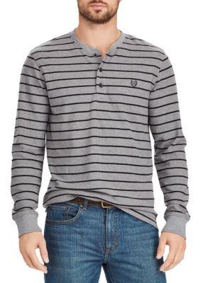 Chaps Men's Striped Waffle-Knit Henley Shirt - Gray Heather - 2Xl