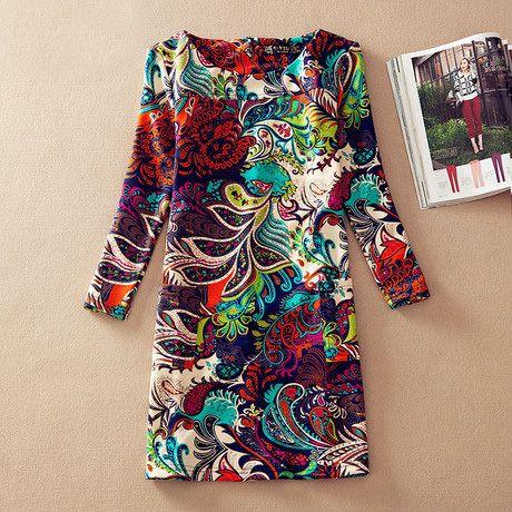 2014 cosecha de invierno ropa de mujer estilo europeo vestido largo  manga vestido más tamaño otoño vestidos casuales las mujeres de impresión 4xl en Vestidos de Moda y Complementos en AliExpress.com | Alibaba Group