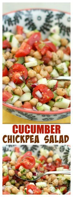 Cucumber and Chickpea Salad for summer meals at ReluctantEntertai...