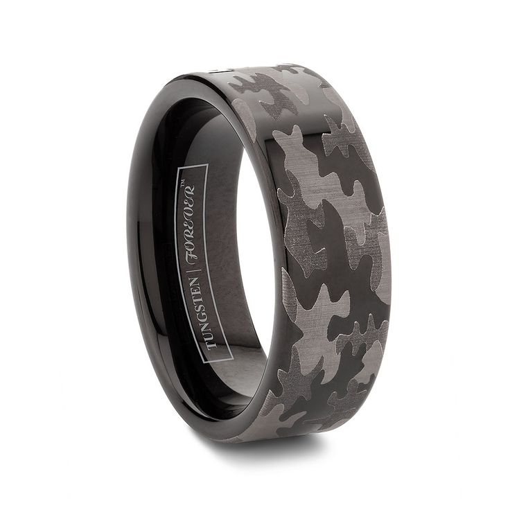 6mm or 8mm flat tungsten black camo wedding bands http