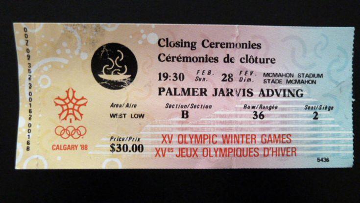 Calgary 1988 XV Olympic Winter Games Ticket Stub Closing Ceremonies Feb Canada #Canada