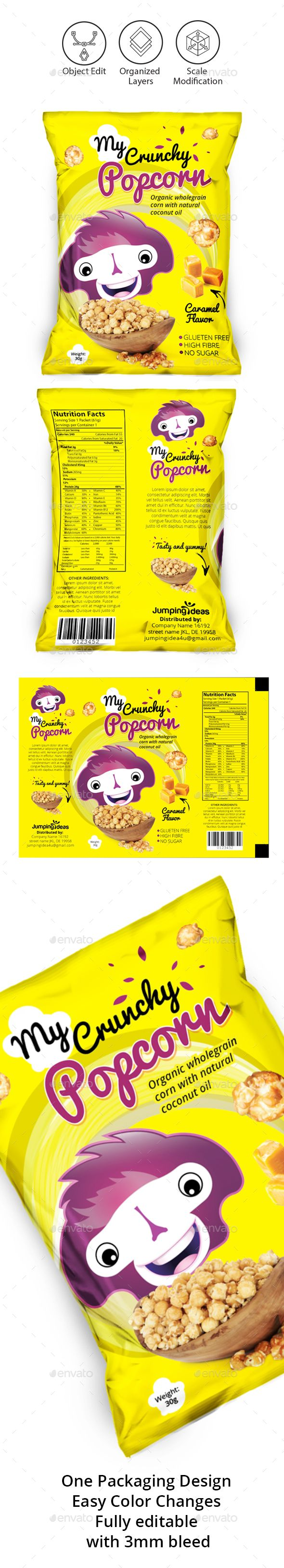 Popcorn #Packaging Template - Packaging Print Templates.Download here: https://graphicriver.net/item/popcorn-packaging-template/17504424?ref=arroganttype