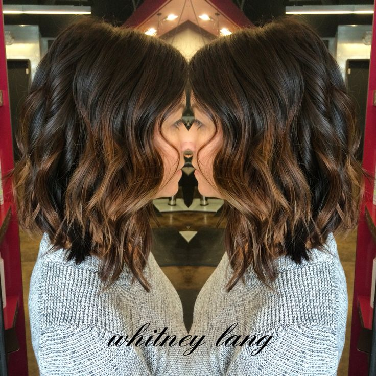 LOVE this fashion forward color and cut! I richened her mocha base and handpainted some beautiful cinnamon pops then we cut about 7 inches to create this chic lob. #studiobe #studiobesalon #hairbywhitneylang