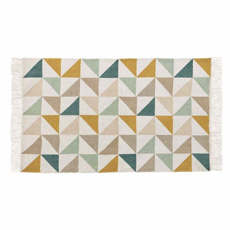 Tapis motif triangles en coton 60 x ...