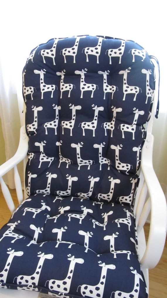 Glider Or Rocking Chair Cushion Set In Navy With White Giraffe Print, Baby  Nursery,