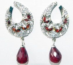 Hand-crafted brass metal drops finely studded with gemstones and cubic zirconia (American diamond) stones.  Size: 45mm x 21mm
