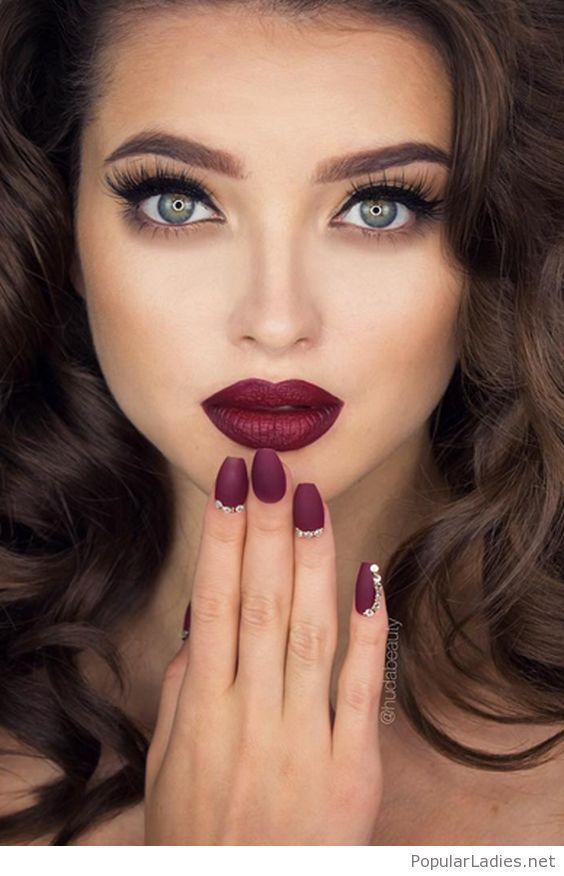 Burgundy Lips And Matte Nails Red Lip Makeup Best Red Lipstick Hair Makeup