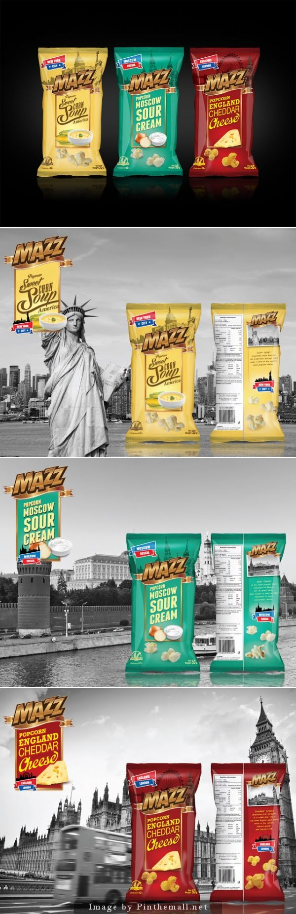 Mazz Popcorn branding products packaging design. Around the world through snacks PD