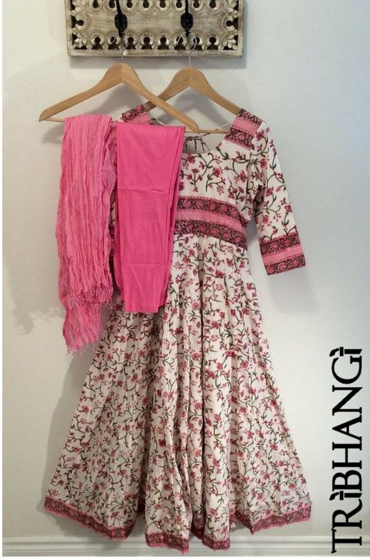 Pink and white floral Jaipur block print cotton by Tribhangi