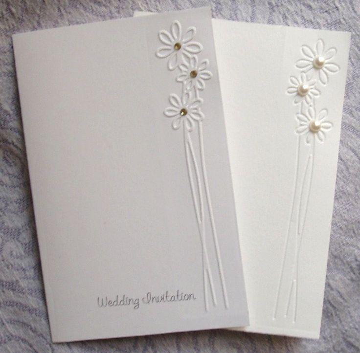 embossed wedding invitations | Elegant Daisy Flower Embossed Wedding Invitations - Sets of 50