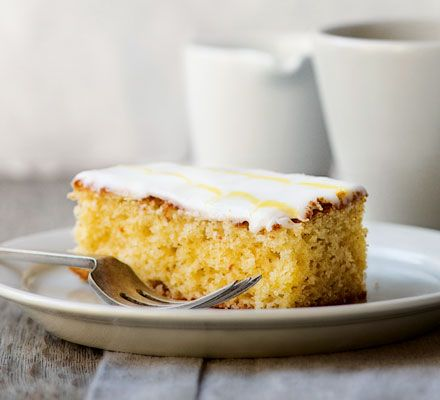 A classic British cake from the Bake Off judge, Paul Hollywood's lemon drizzle is a simple traybake, made extra special with feather icing