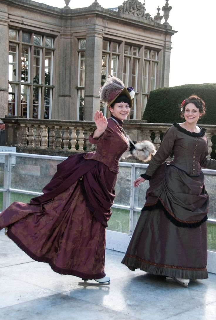 Victorian bustle dresses by Prior Attire - These ice skating outfits are straight out of a currier and ives card.
