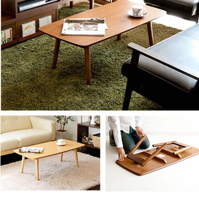 BN Muji style wooden coffee table Direct order from authorized factory which supplies Japan market. The thickness after folding is about 10 cmMeasurement: 100*50*33.8cmSelf collection at jurong east Arranged delivery with additional $30-50