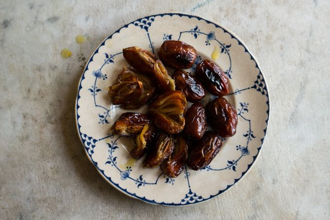 Broiled Saffron Dates - If you've been to my house at any point in recent months, you've likely had these dates - broiled with saffron, almond extract, ghee, and a bit of salt. They're unctuous, sweet goodness. - from 101Cookbooks.com