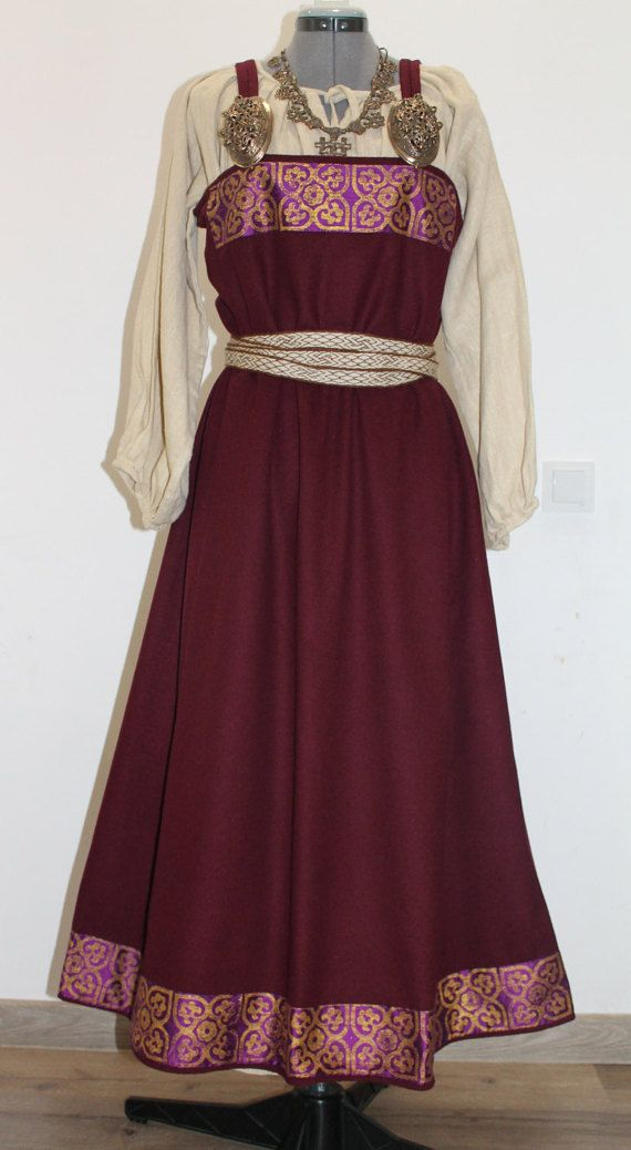 Viking age apron dress by NornasMystery on Etsy Decoration is hand-printed silk.