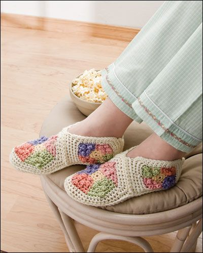 Granny Square Booties Crochet Pattern Download from e-PatternsCentral.com -- Use one basic granny square pattern with differing hook sizes and doubled strands of medium worsted-weight yarn to make three different sizes of these clever, pretty booties.