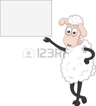 Vector illustratie van grappige schapen tonen aan boord