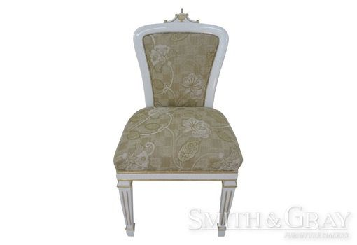 Antique reproduction handcarved dining chair with gilding and tapered fluted legs - See more at: www.smithandgray.com.au