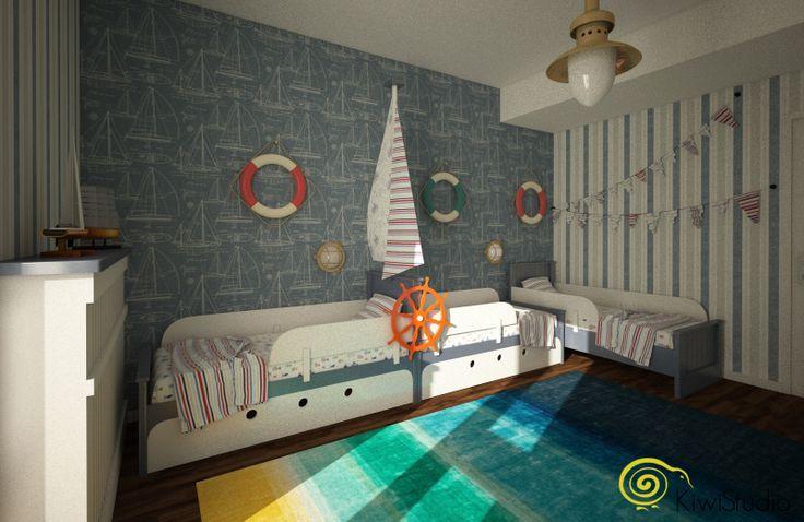 KiwiStudio   Design contemporan si New Scandinavian pentru apartament mare / camera copii tematica nautica