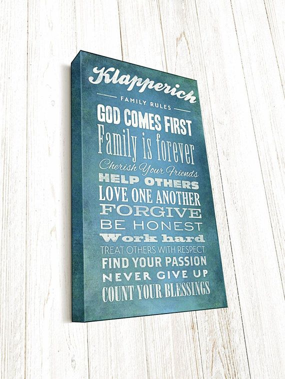 Our Personalized Family Rules Bible Verse Canvas, Family