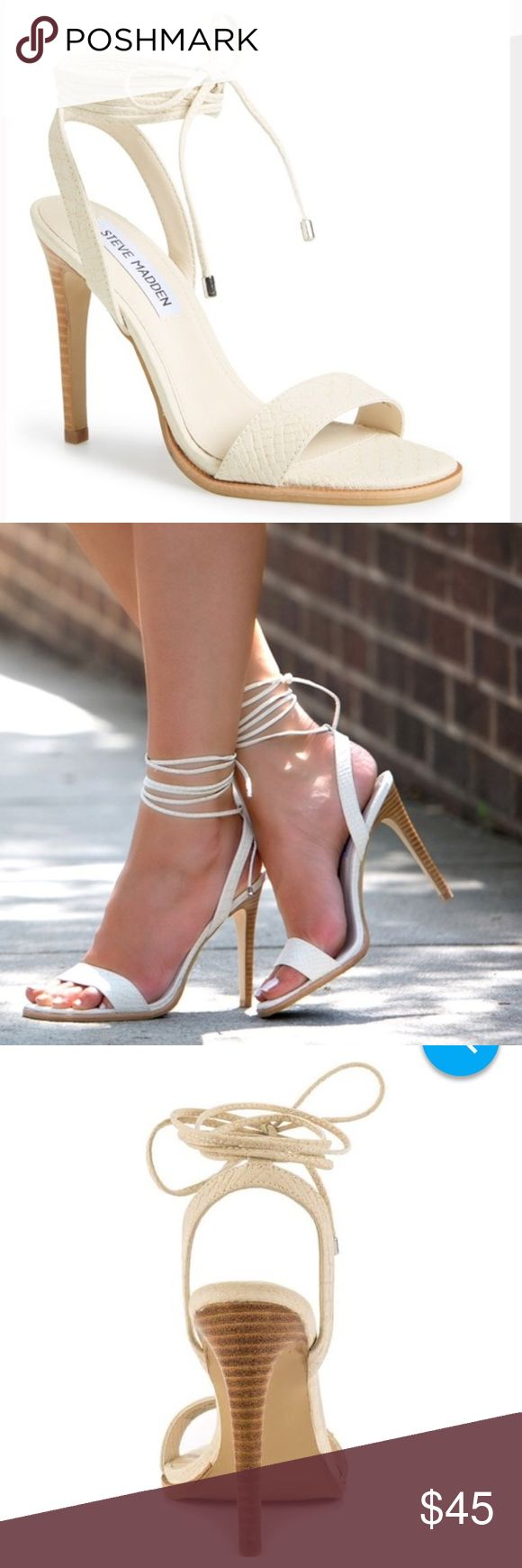 Steve Madden Faithful lace up reptile heel Look gorgeous in these beautiful reptile embossed ankle strapped heels. Wear these tied up your ankle or at the front in a bow, your choice! Heel is 4.5 inches. Comes with original box. Steve Madden Shoes Heels