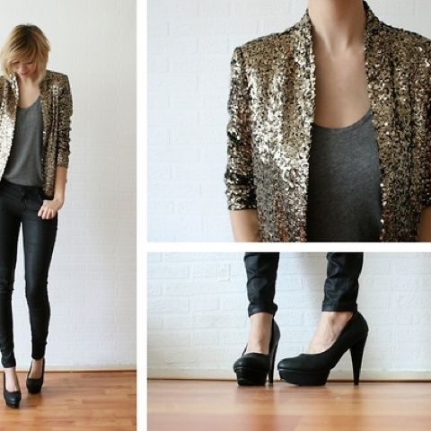 Would have been the perfect New Year's outfit! Gold sequin blazer, leather pants