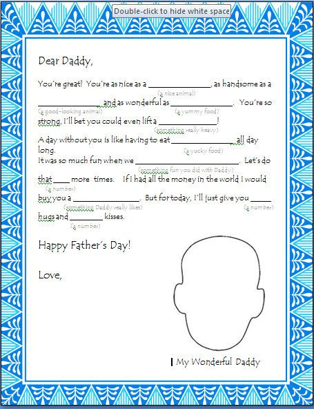 Fill in the blank Father's Day Letter from a Preschooler