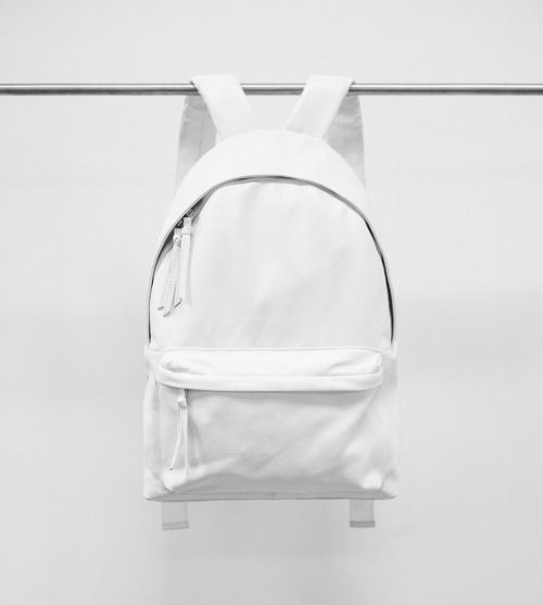 Simplicity - clean white backpack, modern minimal bag