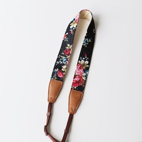 Black floral Camera Strap Nikon/ Sony / Canon strap  DSLR Camera Strap /camera belt/gift for photographer