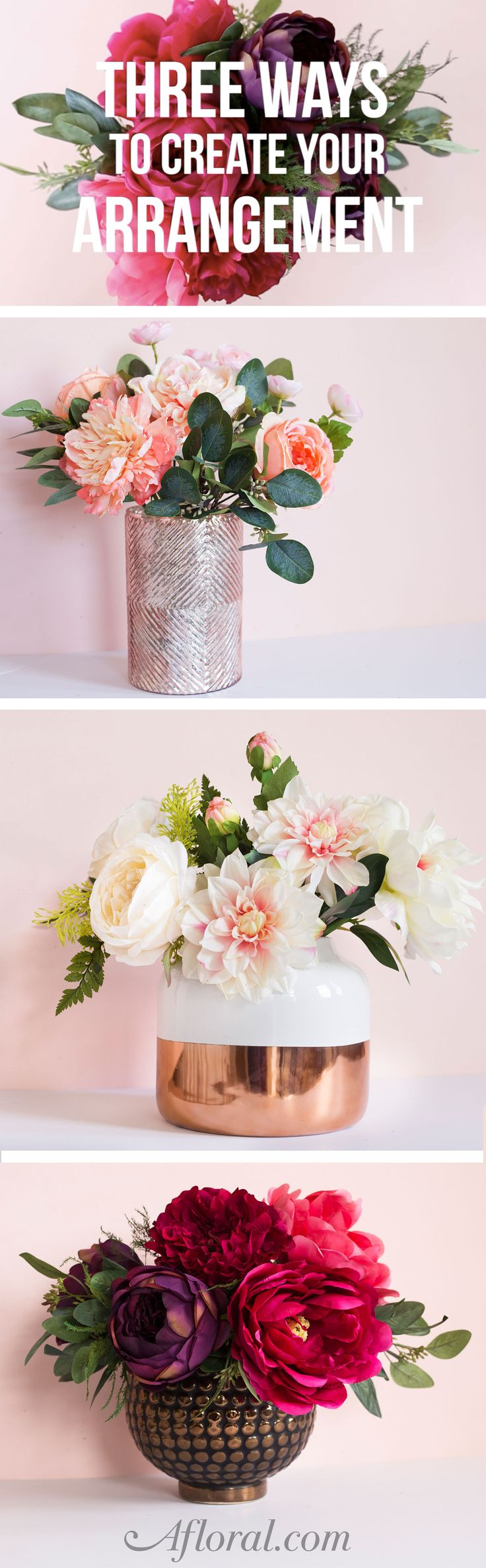Follow this simple tutorial to learn how to create a floral arrangement in three different ways.  You will discover how to make a centerpiece using a floral tape grid, floral foam and floral wire netting.