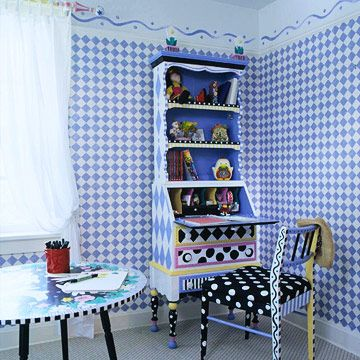 New Twist     Find an old secretary's desk at a garage sale or an antique store. Remove the doors, and paint the desk a fun color or pattern. If the drop-down table doesn't provide enough workspace, paint a table in a similar pattern and place nearby for extra workspace.