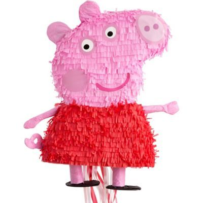 Little piggies will love a Pull String Peppa Pig Pinata. This pull-string pinata is shaped just like Peppa herself and is a safer alternative to traditional pinatas.