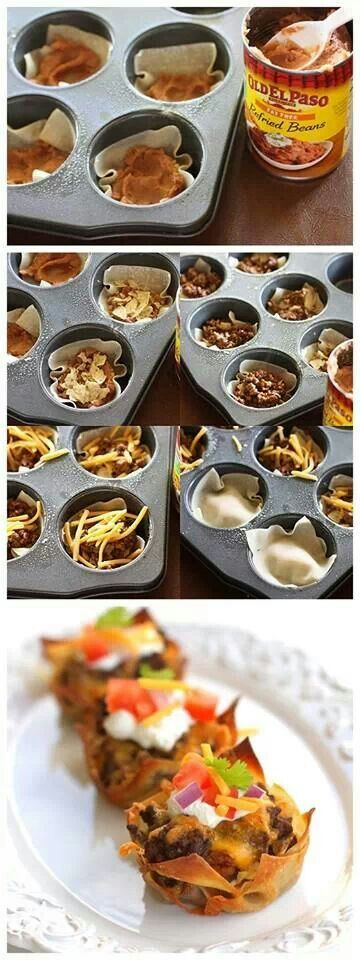 Taco Cupcakes (though you could fill these with pretty much anything!)