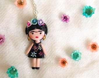 Frida Kahlo necklace. One of a kind. by FlowerLandShop on Etsy