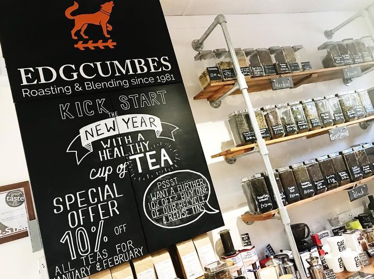 Its quite handy having a barista/sign writer - kick start 2018 with a healthy cup of tea and get 10% off when you buy any of our bags of loose leaf! Plus an extra 10% if you use one of our refill tins! #looseleaftea #teablenders #edgcumbes #edgcumbescoffeeandtea #newyear #healthy