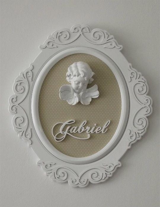 enfeite porta maternidade, quadro anjo, arabesco oval