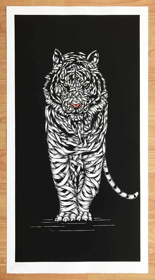 Tiger Threat (W6)      Price £125.00        By Otto Schade     Size: 74.5 x 41 cm (30 x 16.4 in) Bottom Deckle Edge     Medium:  2 colours screen print on 300 gsm Somerset Paper | Sprayed in Ink Paint by the Artist and Overprinted with Black YV Ink     Edition:  Unique 1/1 's     Year: 2017