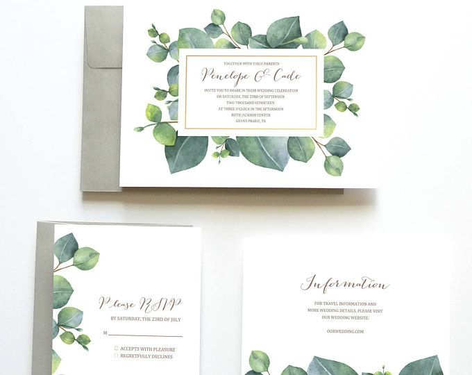 Eucalyptus Wedding Invitation, Botanical Wedding Invitation, Green Wedding Invitation, Wedding Invitation Suite, Wedding Invitation Set